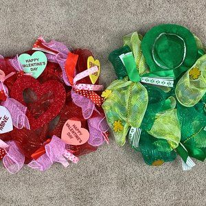 Valentines Day & St. Patrick's Day Wreath Set of 2